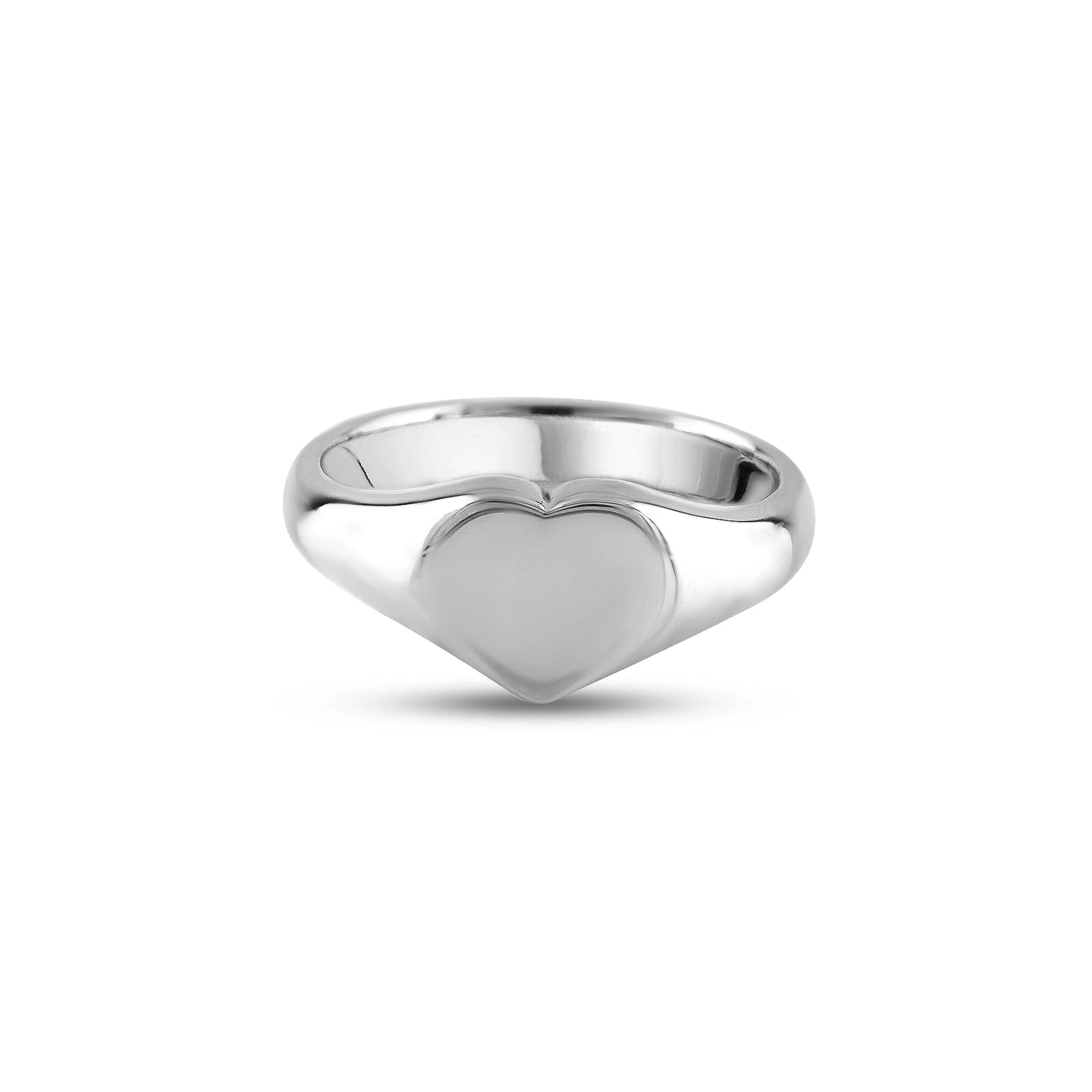 9ct White Gold 9 x 9mm Heart Signet Ring