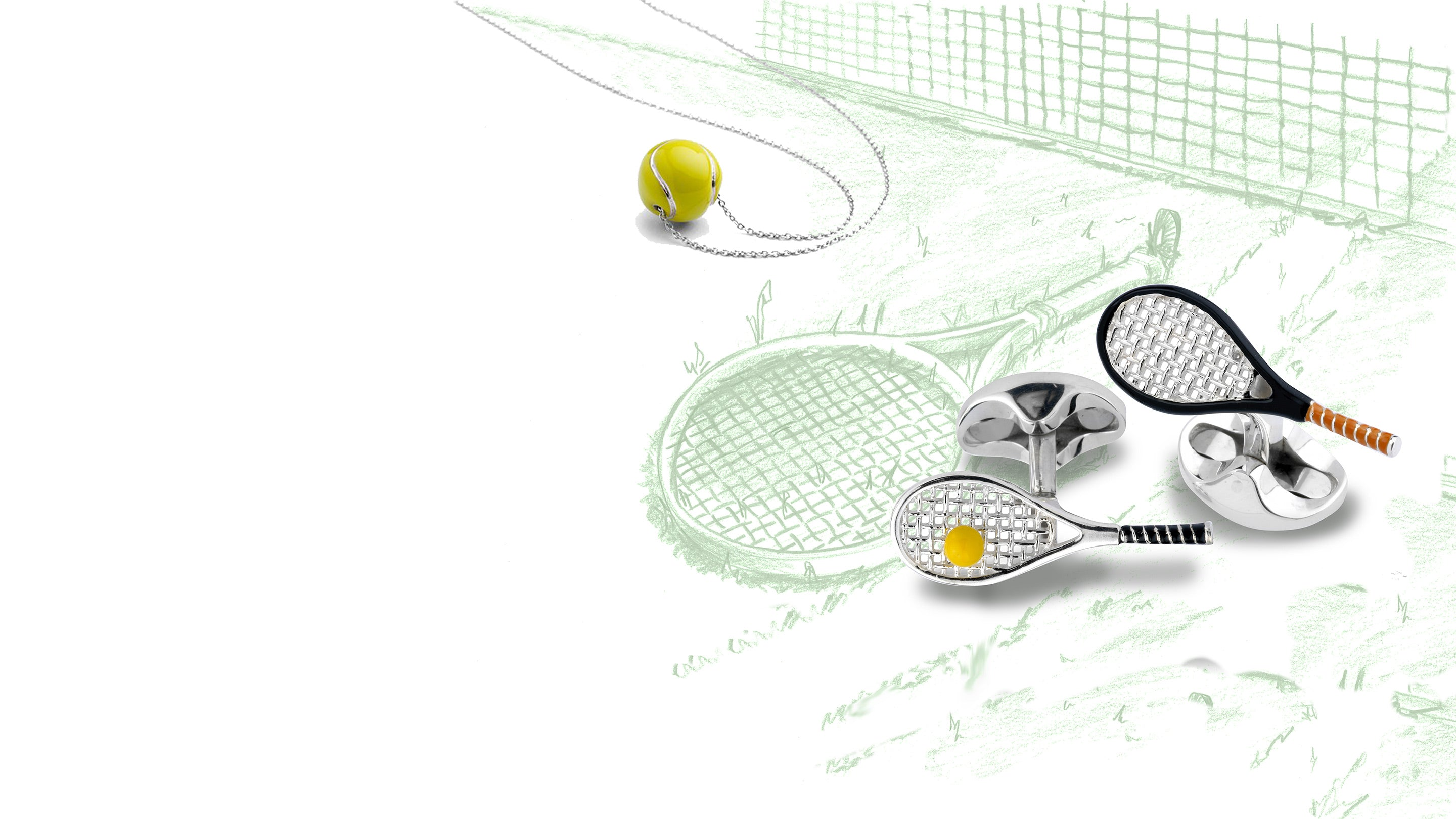 Deakin and Francis tennis racket and ball cufflinks