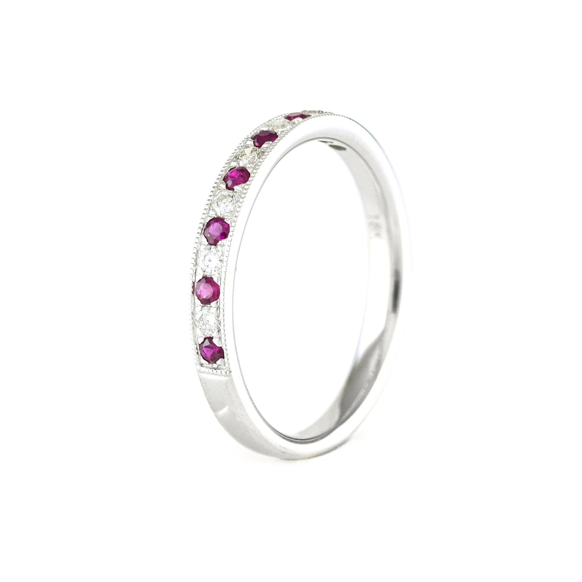 Half eternity ring set with round rubies and diamonds