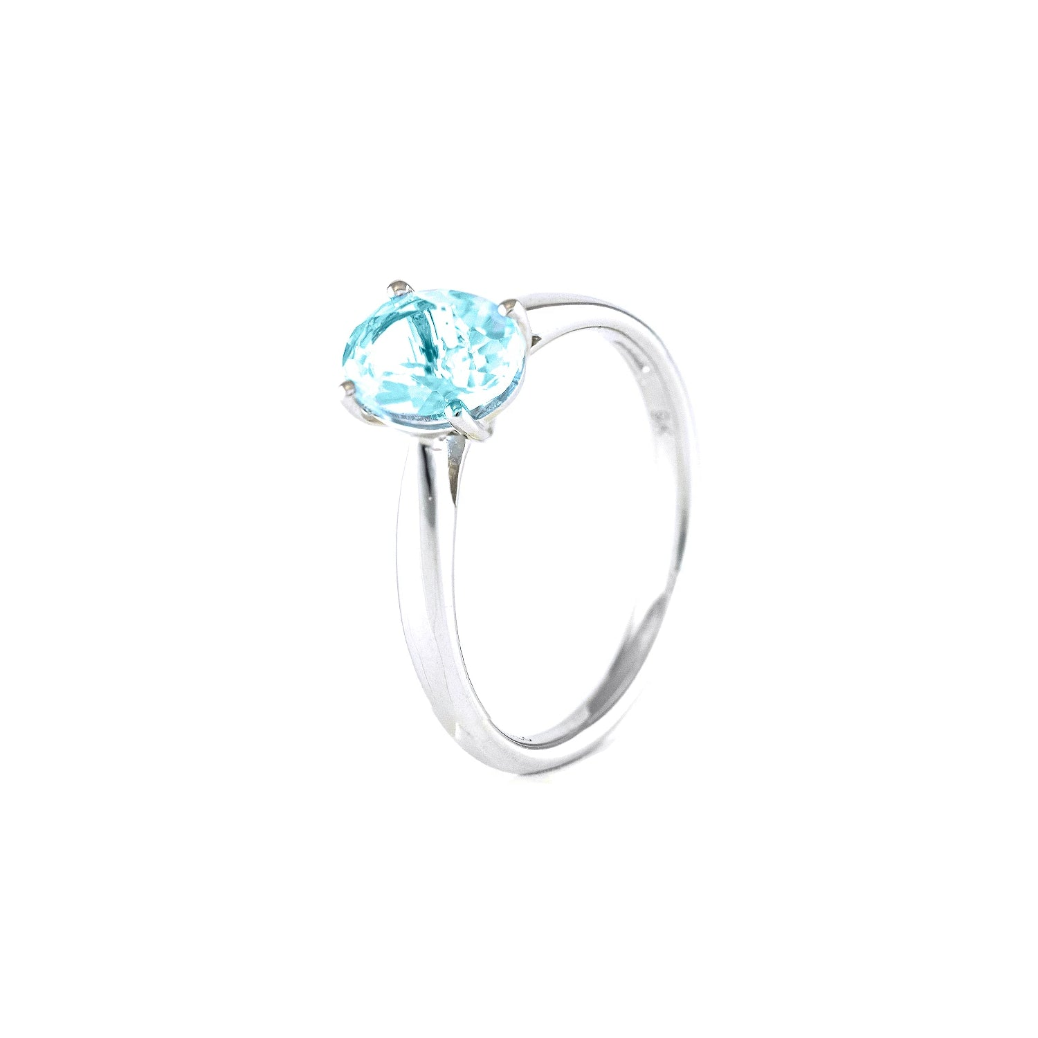 Oval blue topaz set into and 9ct white gold band, single stone ring