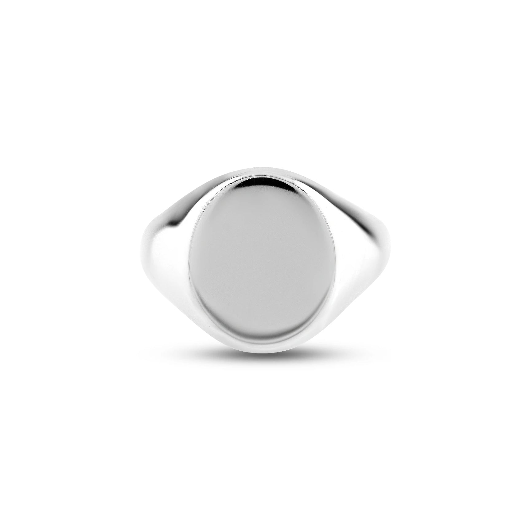 Silver 16 x 13mm Oval Signet Ring