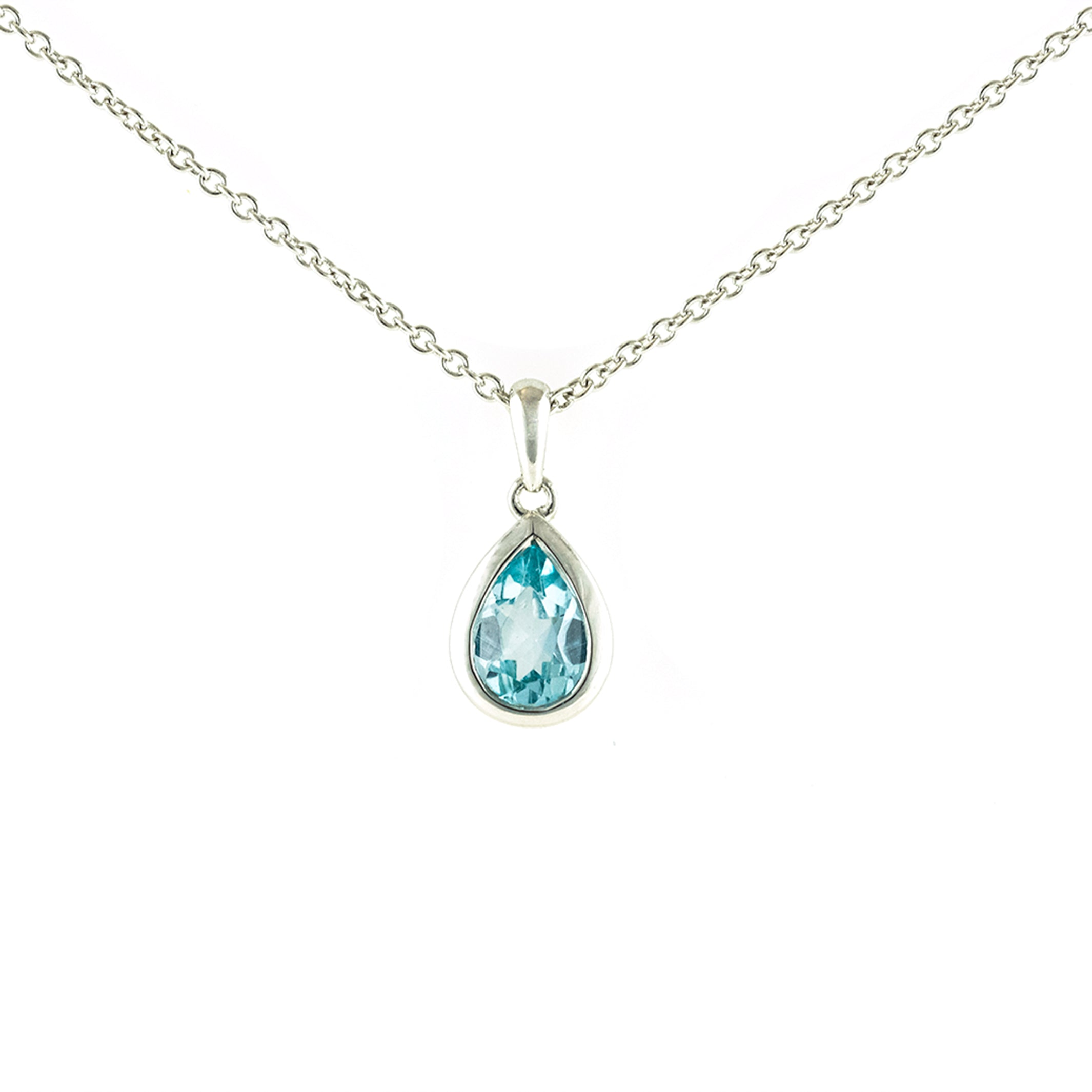 Pear shaped blue topaz set in 9ct white gold pendant