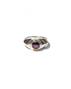 Hex Signet - Sterling Silver & Star Ruby