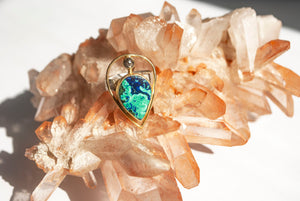 Azurite Malachite & Rose Cut Diamond