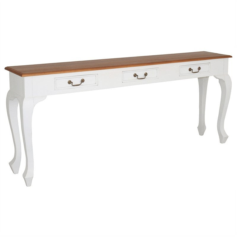 Natural Paris House French Console Table Queen Ann Solid Timber 3 Drawer 180cm Sofa Table - White Scandinavia CFS168ST-003-QA-WR_1