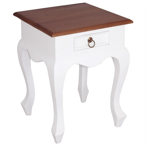 Natural Paris House Queen Annie French Bedside Solid Wood Timber Single Drawer Lamp Table - White Scandinavia CFS168LT-001-QA-WR_1