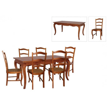 Natural Paris House French Dining Table Queen Annie Solid Timber 200cm with 6 Chair- White Scandinavia CFS168DT-200-100-FP-SET-OF-6 ( Two Tone Light Pecan White Colour )