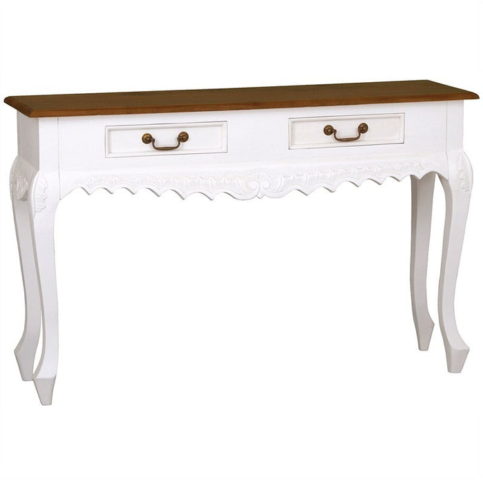 Natural Paris House French Console Table Queen Annie Solid Timber 2 Drawer Sofa Writing Desk, White Scandinavia CFS168ST-002-CV-WR_1