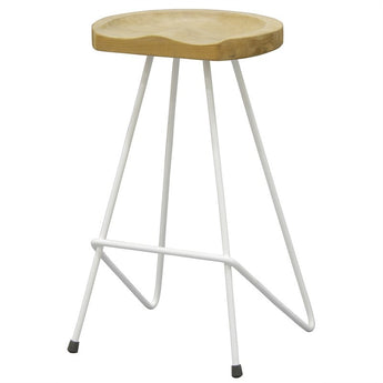 Paris House Alicia Teak Timber and Steel French Saddle Bar Stool - White CFS168BR-067-LBS-WH_1