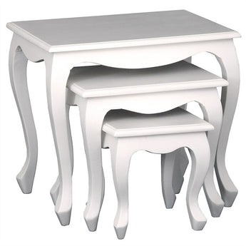 Paris Homes Queen Annie French Nest of Tables 3 Piece SolidTimber Wood Nested Table Set, White cfs168NT-300-QA-WH_1