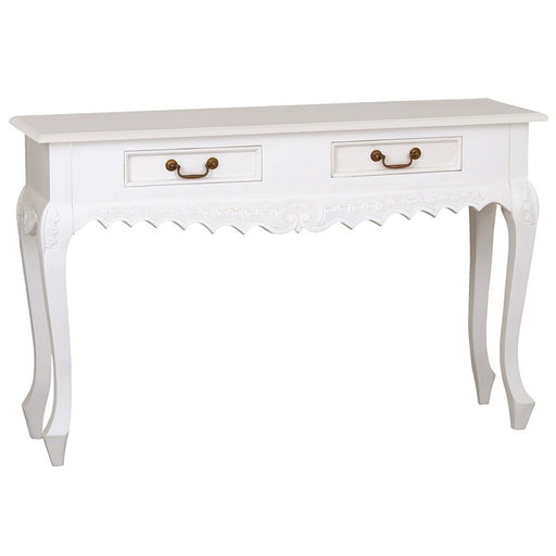 Paris Homes Queen Annie Nova French Console Table Solid Wood Timber 2 Drawer Sofa Table - White CFS168ST-002-CV-WH_1