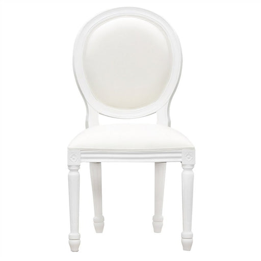 Paris Homes Queen Annie Wood Timber French Round Back Dining Chair, White CFS168CH-000-RD-QA-WH_3