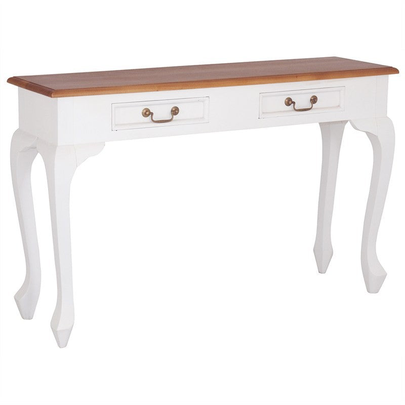 Natural Paris House French Console Desk Queen Annie Solid Timber 2 Drawer Sofa Table, 120cm, White Scandinavia CFS168ST-002-QA-WR_1