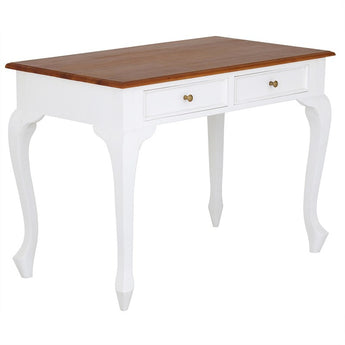 Natural Paris House French Study Writing Table Queen Annie Solid Timber 2 Drawer Desk - White Scandinavia  CFS168DK-002-QA-WR_1