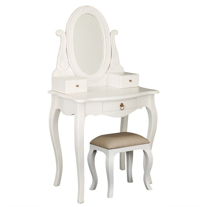 Paris House French Vanity Desk Queen Annie Solid Timber Dressing Table With  Stool   White CFS168ST