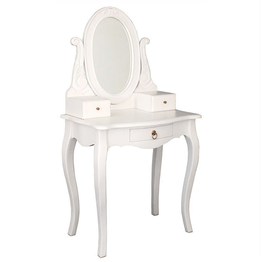 Paris House French Vanity Table with Mirror Queen Annie Solid Timber Dressing Table - White CFS168ST-003-MR-CV-WH_1
