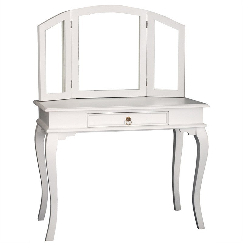 Paris House Queen Annie French Vanity Desk Solid Timber Dressing Table - White CFS168ST-001-MR-QA-WH