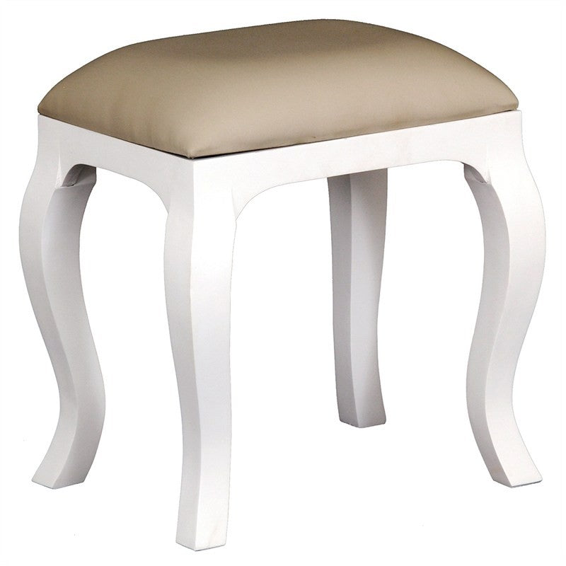 Paris House Queen Annie Solid Timber French Dressing Stool, White CFS168CH-001-QA-WH_1