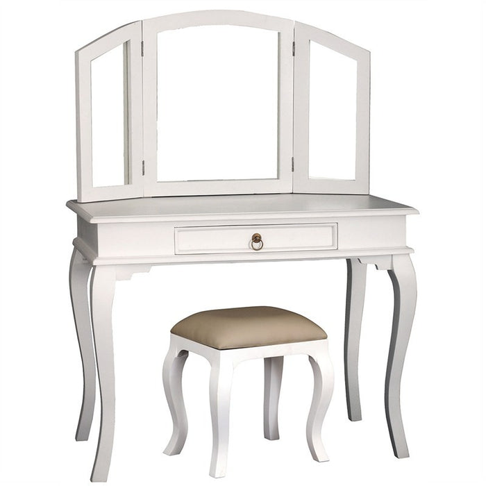 Paris House French Vanity Table Set Queen Annie Solid Timber Dressing Table with Stool - White CFS168ST-001-MR-QA-SET-WH_1