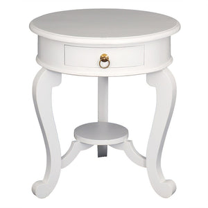 Province Cabriol French Side Table Solid Timber Wood Round Lamp Table, White cfs168LT-001-RD-CL-WH_1