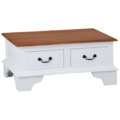 Raffles French Coffee Table Tas Timber 2 Drawer 90cm , Scandinavia White CFS168CT-004-PN-WR_1