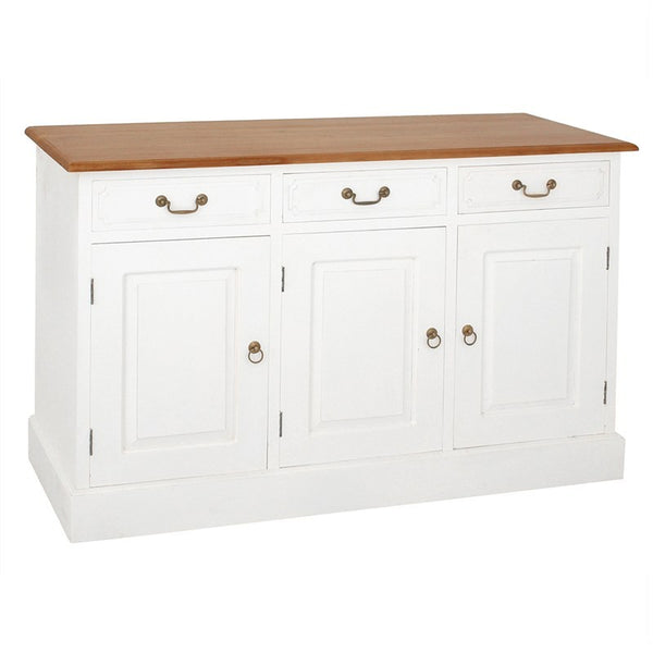 Raffles French Buffet Sideboard Tas Timber 3 Door 3 Drawer 145cm Buffet Table, Caramel Scandinavia CFS168SB-303-PN-WR