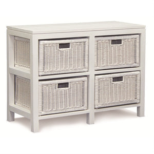 Raffles French Chest of Drawers Dresser Cabinet Cupboard Solid Timber Storage Unit with 4 Rattan Baskets, White CFS168SB-004-RT-WH_1