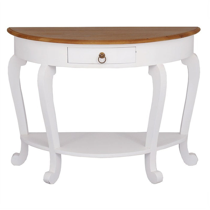 Raffles French Console Table Reception Hallway Stand Cabriole Solid Timber Half Round Sofa Table, White Scandinavia CFS168ST-001-HR-CL-WR_1