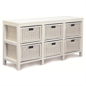 Raffles French Dresser Chest of Drawers Cabinet Cupboard Solid Timber Storage Unit with 6 Rattan Baskets, White CFS168SB-006-RT-WH_1