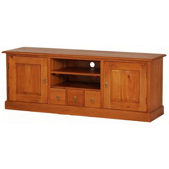 Paris House Wood Timber Tasmania 2 Door 3 CD Drawer Entertainment Unit Size 160W 45D 60H French TV Console Unit, White CFS168SB-203-PN ( Two Tone Light Pecan and White Colour  )  ( Picture Illustration Colour for Reference Only )