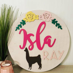 "20"" Llama Nursery Round, Painted Baby Room Decor"