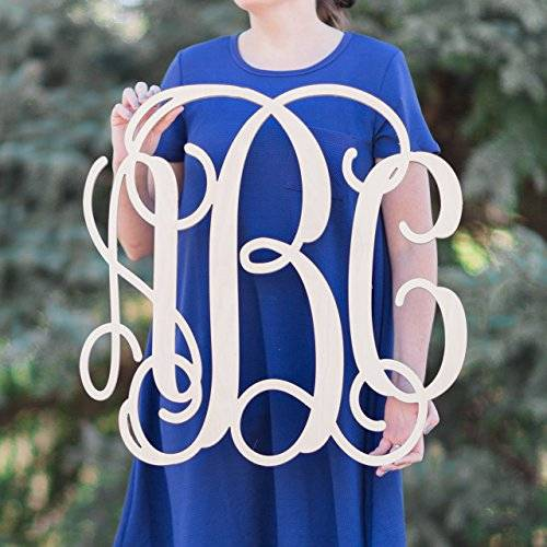 3 Letter Vine Monogram, Dorm Room, Monogram Decor