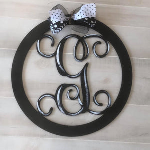 Circle Monogram, Wooden Doorhanger, Single Letter