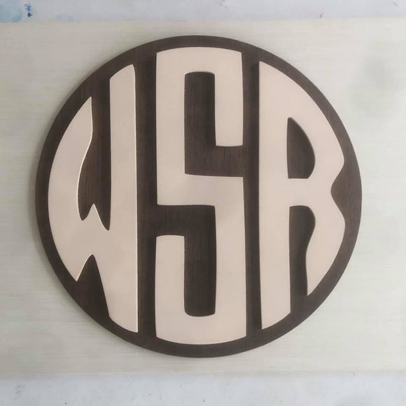 3D Round Wood Monogram Sign, Personalized Nursery Sign, Boy Monogram, Boy Nursery Decor, Baby Boy Nursery Sign