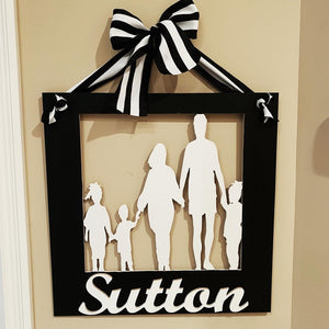 Family Silhouette Customizable Door Hanger, Last Name Overlay