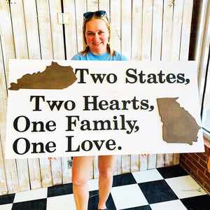 Two States Two Hearts Sign, Choose your colors,  Customizable,  Home Decor
