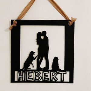 Family Silhouette Customizable Door Hanger, Last Name Cut into Sign