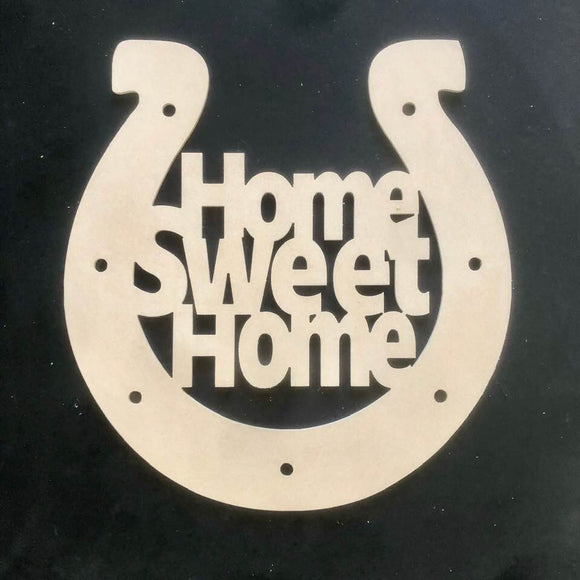 Horseshoe Home Sweet Homer Craft Cutout Wooden Door Hanger Unfinished Craft Shape