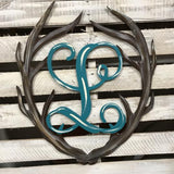 Antler Monogram Painted, Thanksgiving Customizable Door Hanger Fall Home Decor
