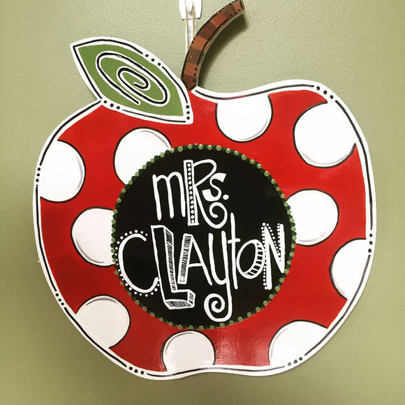 School Teacher Door Hanger, Apple with Chalk Paint, Painted Teacher GIft, Customizable
