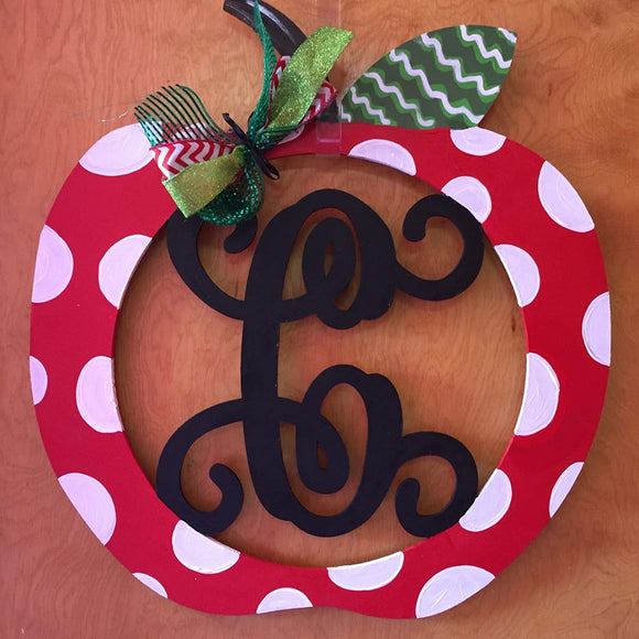 School Teacher Door Hanger, Apple Monogram with Initial Painted Teacher GIft, Customizable