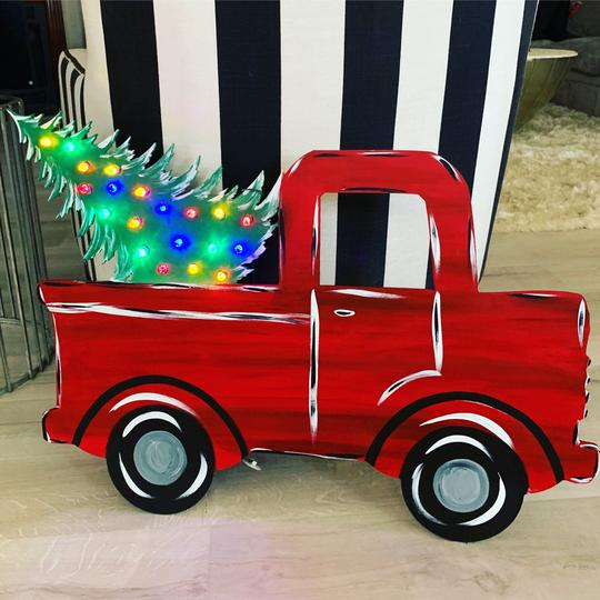 Christmas Truck with Tree and Christmas Lights Battery Pack