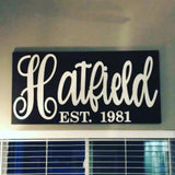 Family Name Established Sign, Choose your colors,  Customizable,  Home Decor