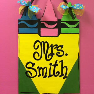 School Teacher Door Hanger, Crayon Box Painted Teacher GIft, Customizable
