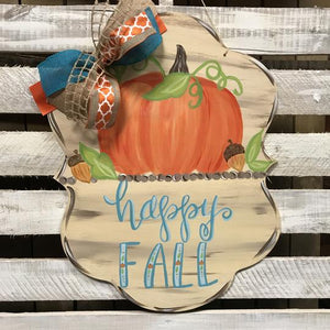 Fall Plaque Wooden Door Hanger, Thanksgiving Customizable Door Hanger