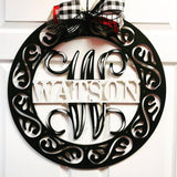 "24"" Fancy Circle Monogram, Family Name with Monogram Initial Painted"
