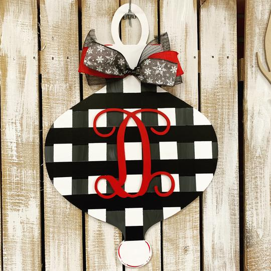 Fancy Christmas Ornament with Monogram Initial Overlay, Christmas Decoration