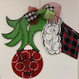 Grinch Hand holding Christmas Ornament Door Hanger, Christmas Decoration