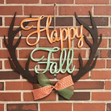 Happy Fall Antler Wooden Door Hanger, Thanksgiving Customizable Door Hanger