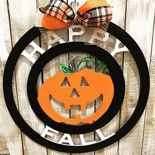 Circle Happy Fall Jack-O-Lantern Wooden Door Hanger,  Customizable Door Hanger